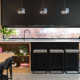 Black, marble, and timber stone benchtop colour scheme