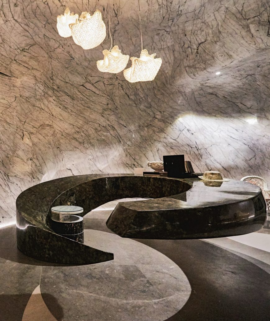 Curved Marble Granite Table by Peter Tijoe