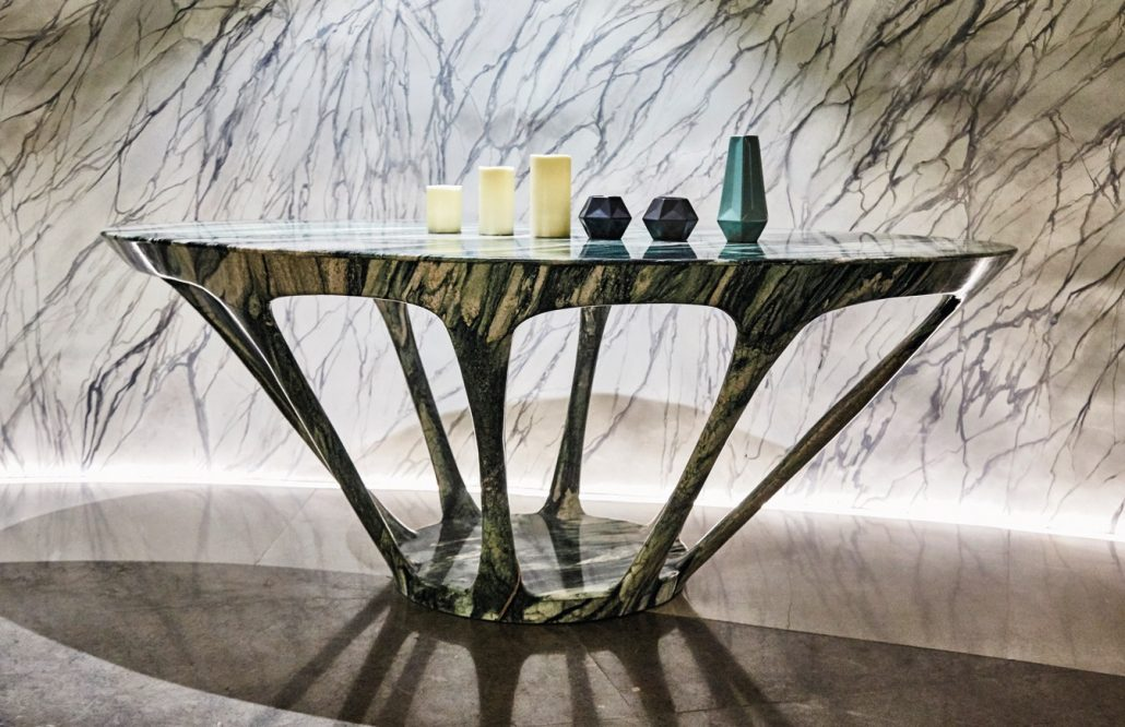 Curved Marble table by Peter Tijoe