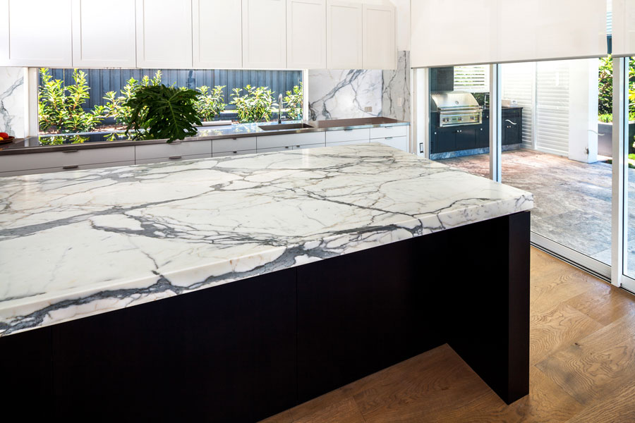White and grey marble island top