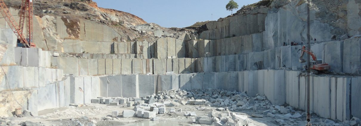 Hard marbles being quarried in India